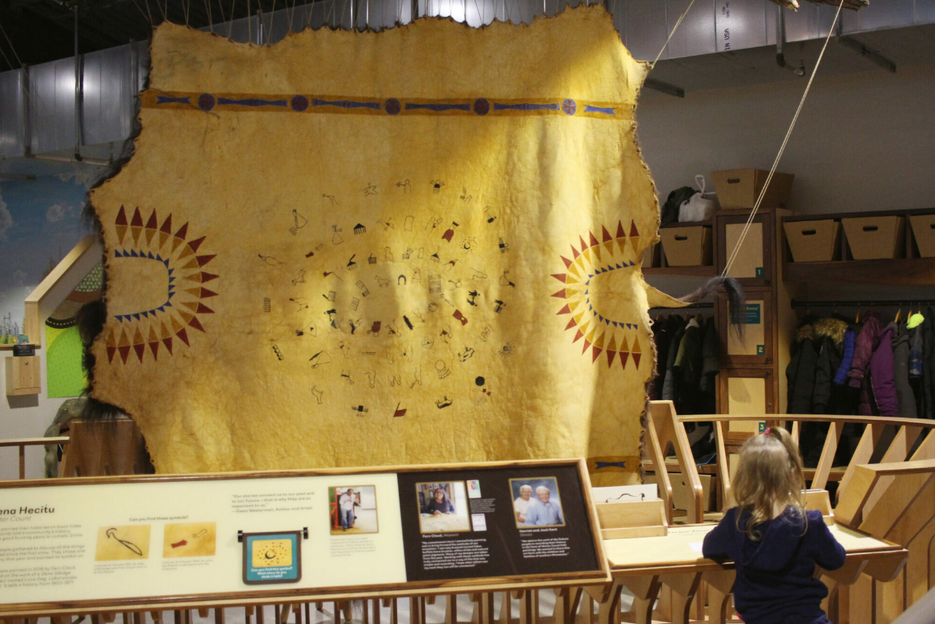 Winter Count Dakota Exhibit at the Childrens Museum of Southern Minnesota