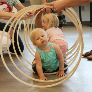 Toddler Wednesday in the Childrens Museum of Southern Minnesota community room weekly programming held each Wednesday morning led by Educators