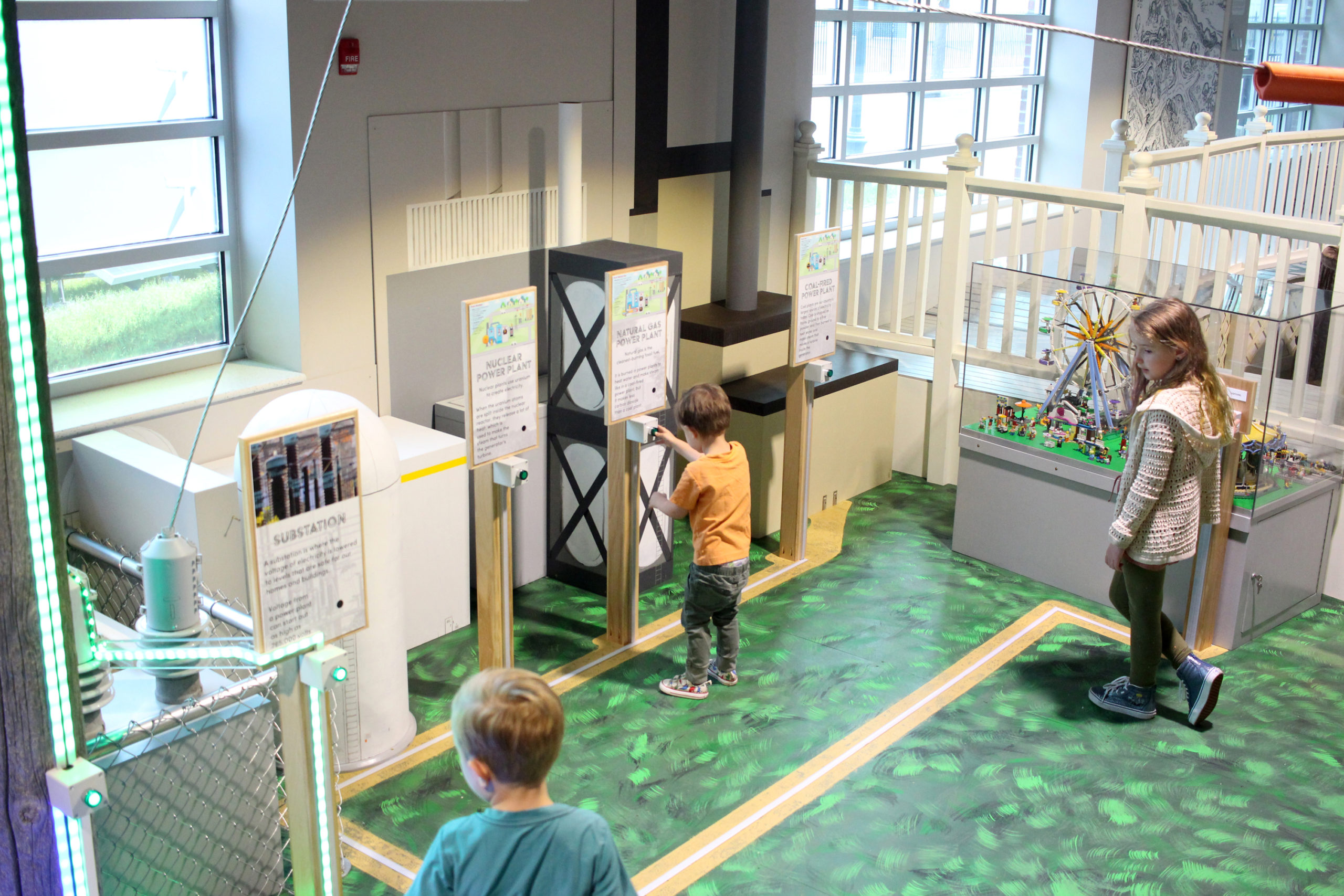 The Grid electricity learning experience in the Energy Powered by Play seasonal temporary exhibit at the Childrens Museum of Southern Minnesota in Mankato