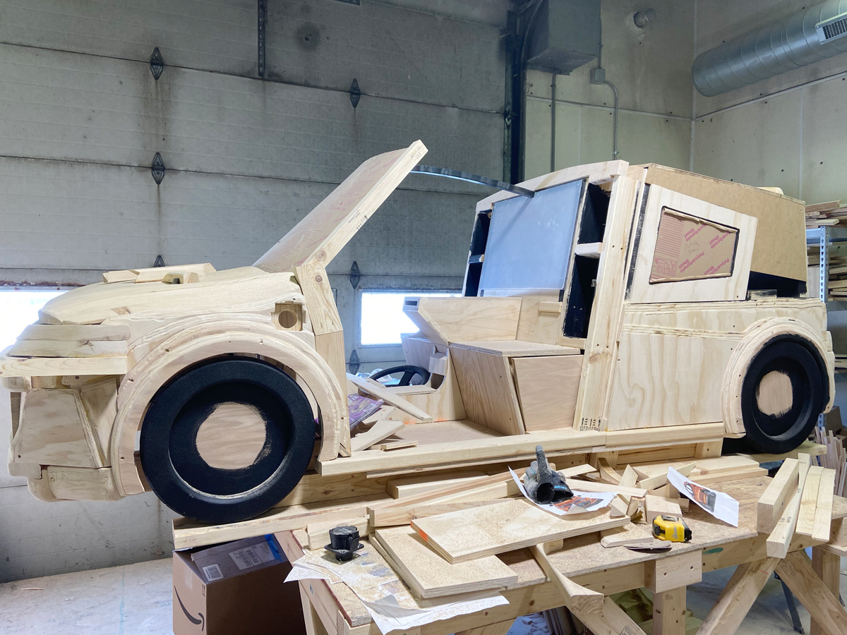 The EV (Electric Vehicle) under construction