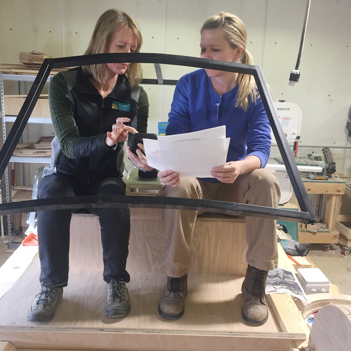 Deb and Hallie finalizing plans for the EV (Electric Vehicle)
