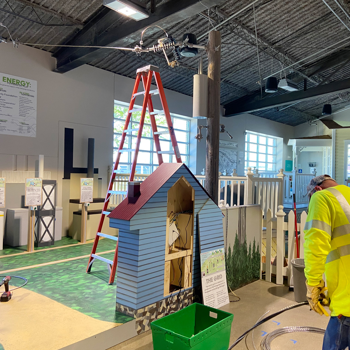 Nearing completion of the Energy: Powered by Play exhibit installation
