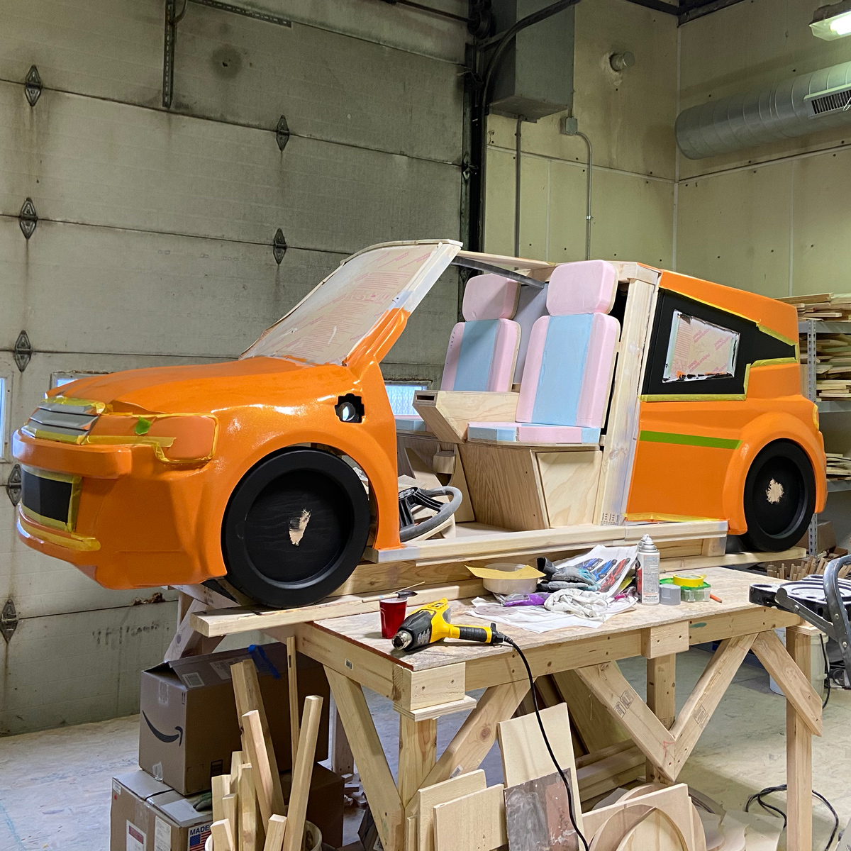 Fresh paint on the EV (Electric Vehicle)