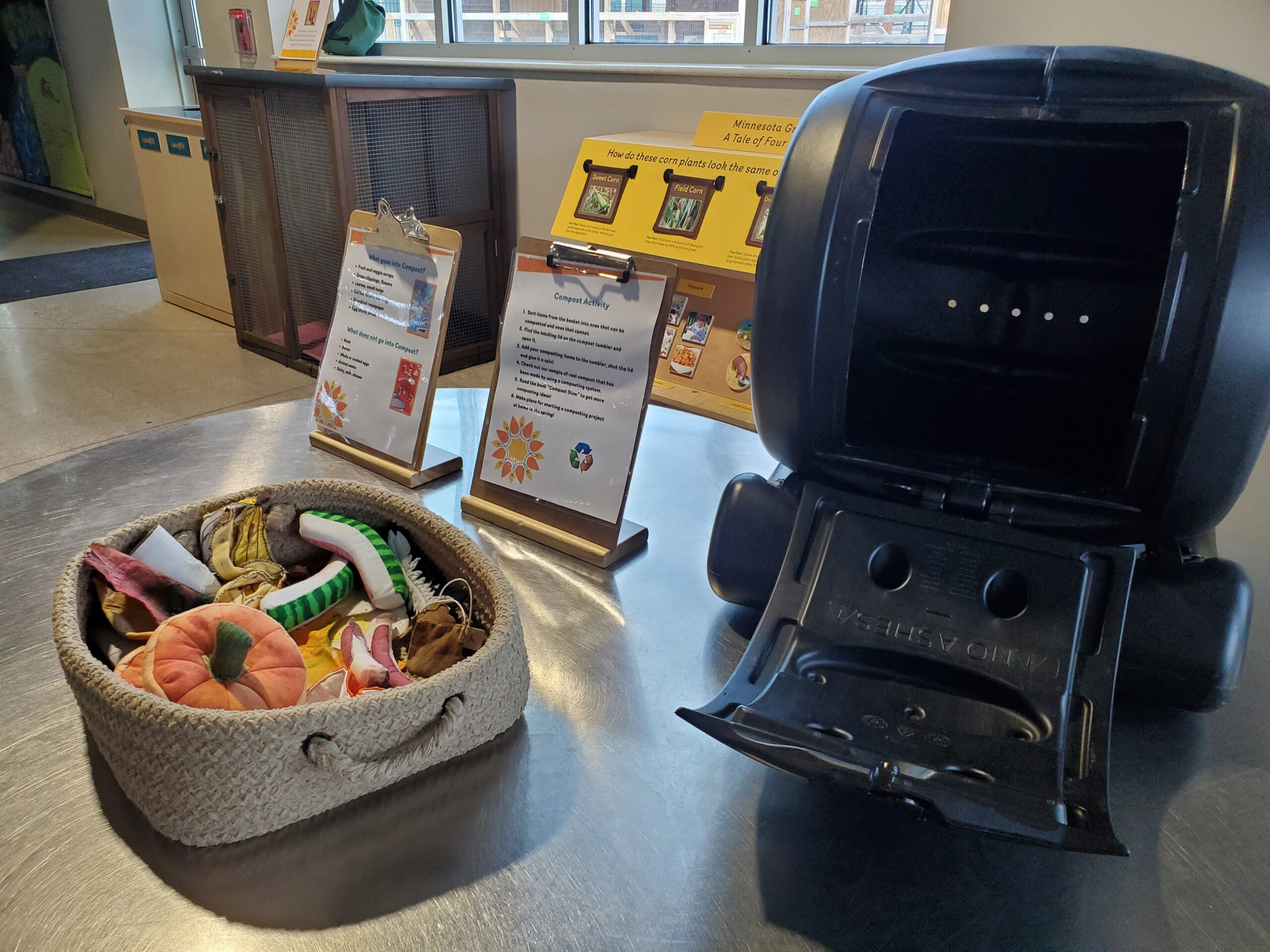 Composting in the Ag and Nature Lab at the Childrens Museum of Southern Minnesota